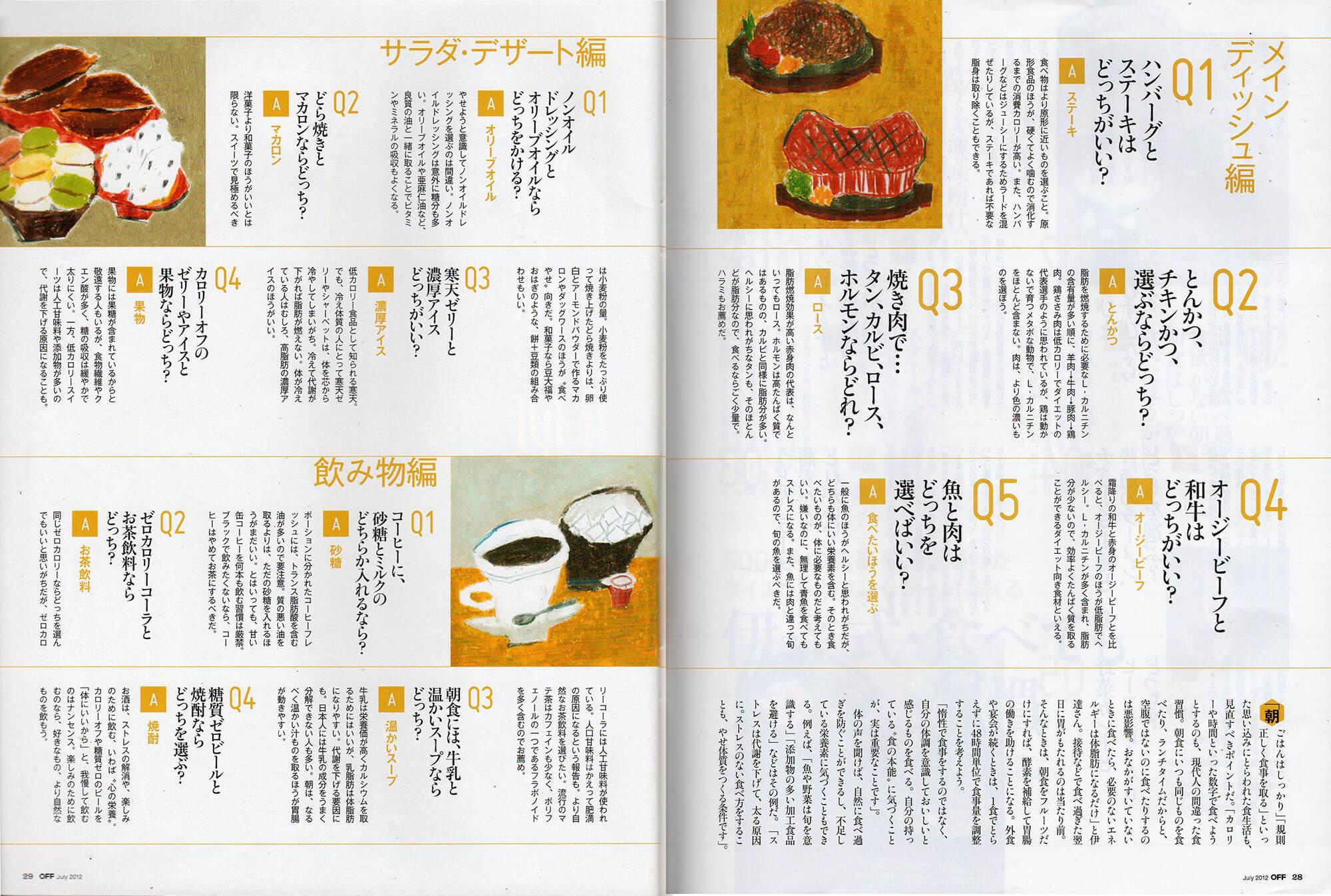 「日経おとなのOFF」挿絵 日経BP「記事内 ハンバーグとステーキ、どら焼きとマカロン、コーヒー」