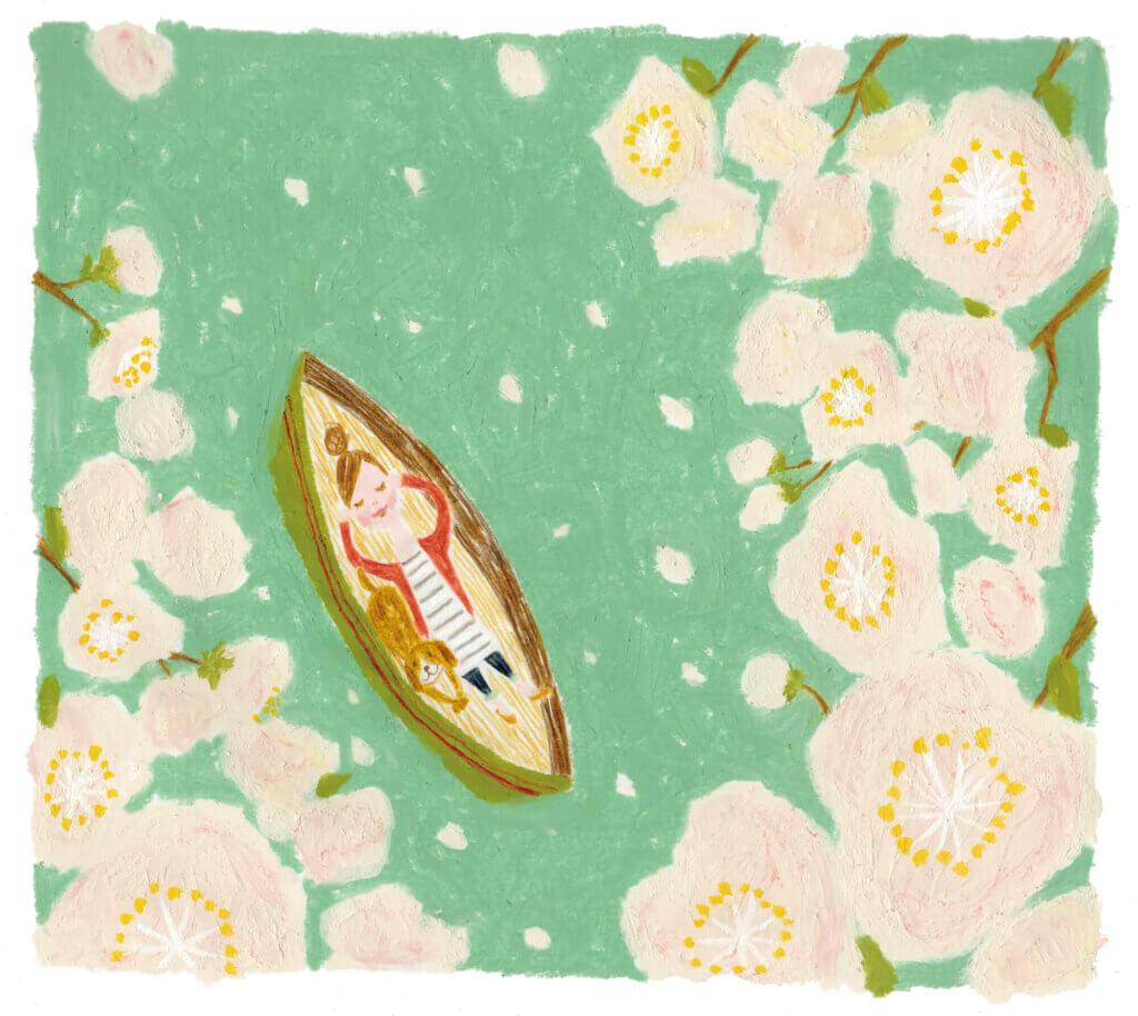 「すこやか健保」表紙絵 健保連 2014年「ボートに寝そべる女性」