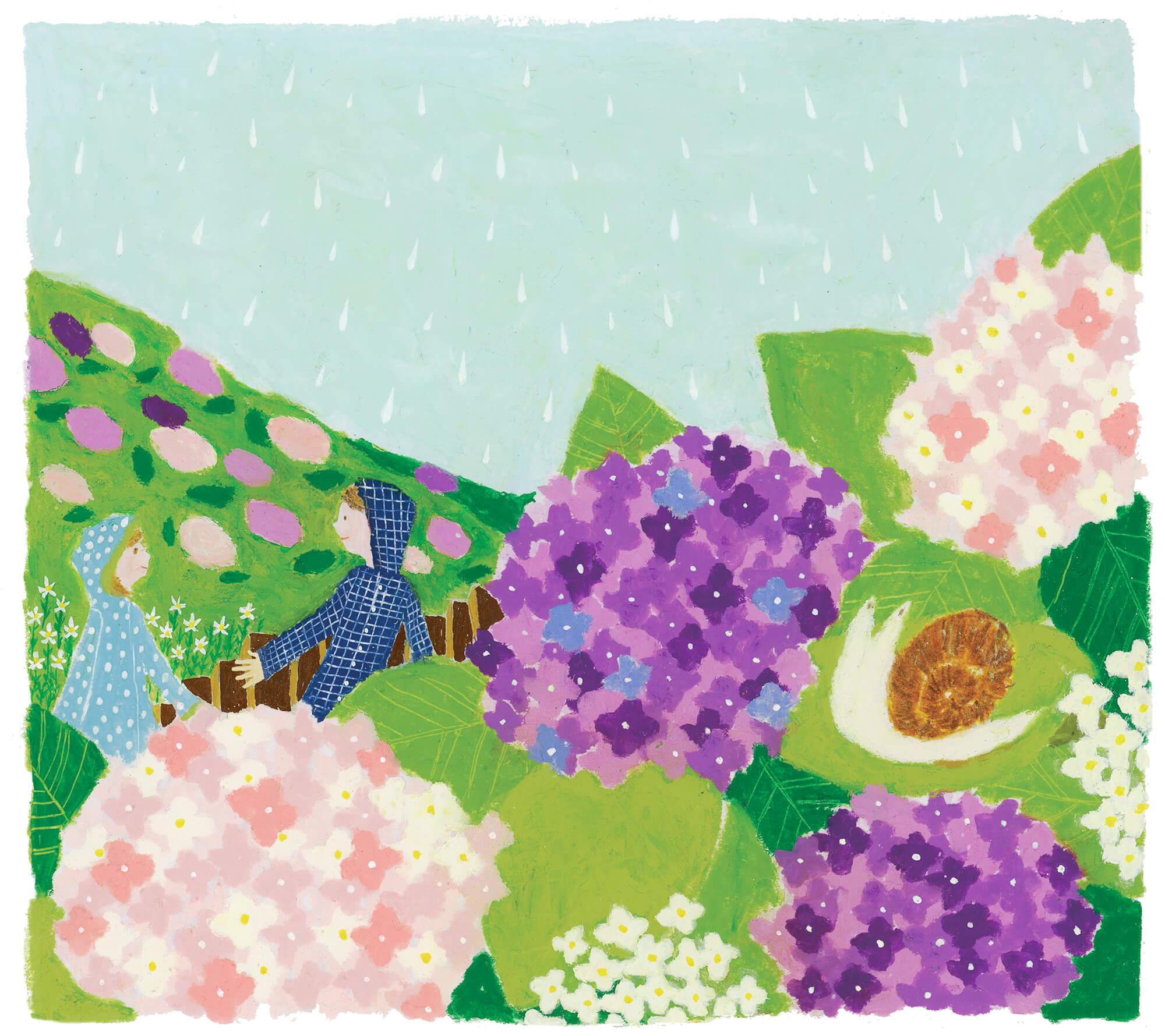 「すこやか健保」表紙絵 健保連 2014年「梅雨に紫陽花」