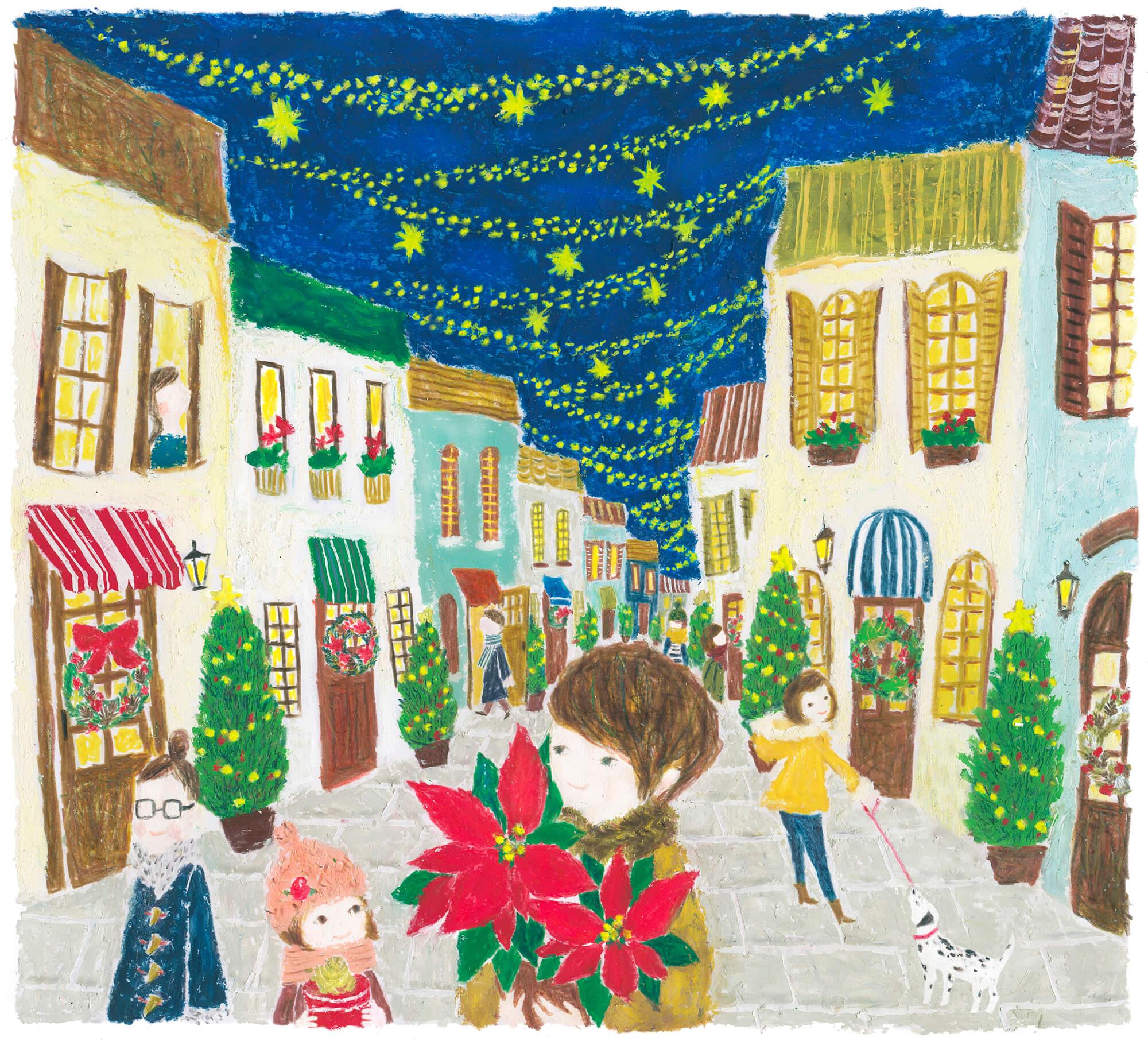 「すこやか健保」表紙絵 健保連 2014年「クリスマスの買い物」