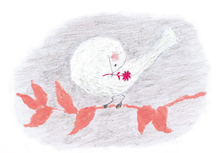 ヤマハ音楽教室楽譜 挿絵 2016年「花を加える鳥」