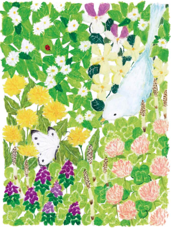 会員誌表紙絵 けんこうTV2016年「春 花畑に鳥とちょうちょ」