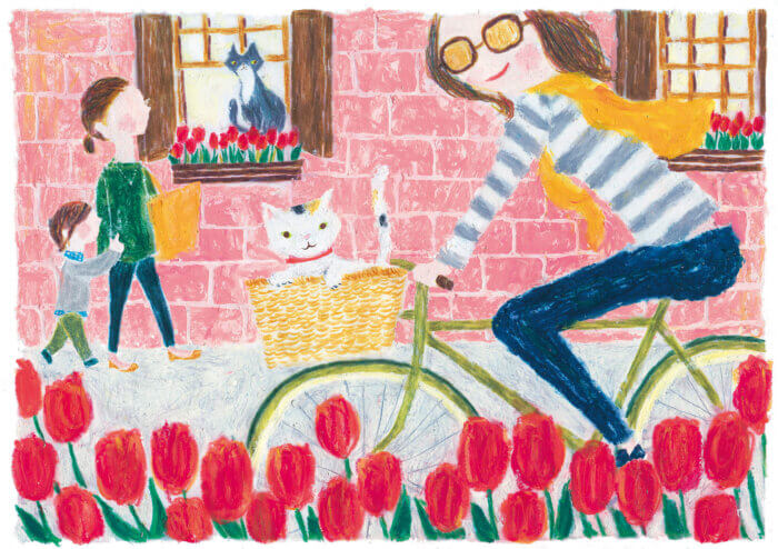 「すこやか健保」表紙絵 健保連「春にサイクリング」