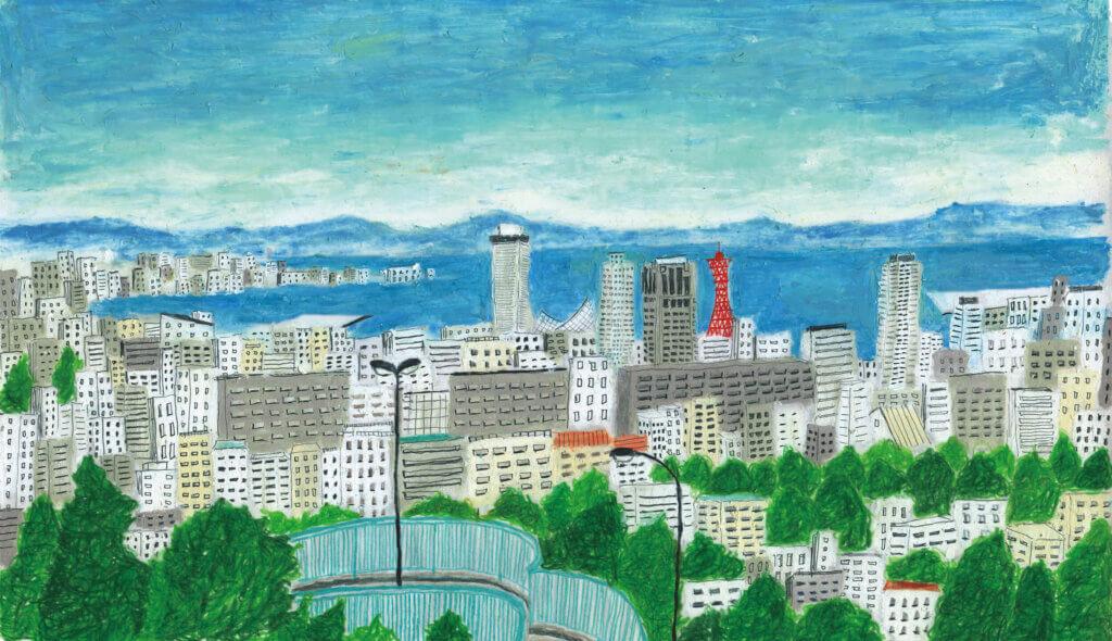 神戸新聞イラスト 2018年「神戸の町並み」