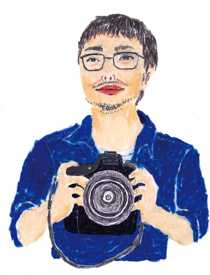 「ねこのきもち」イラストカット ベネッセ2018年「カメラを持つ男性」