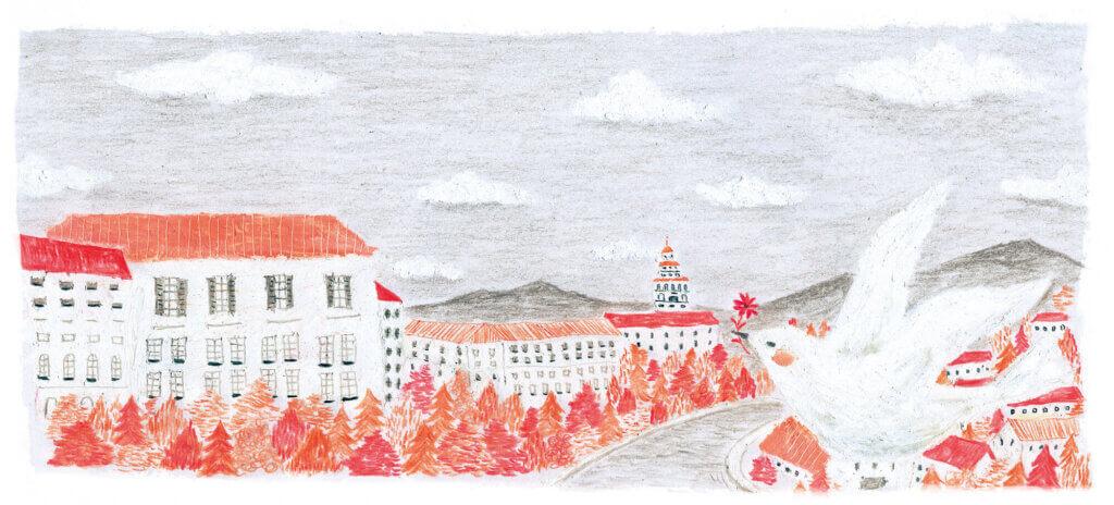 ヤマハ音楽教室楽譜 挿絵2016年「町並みと鳥」