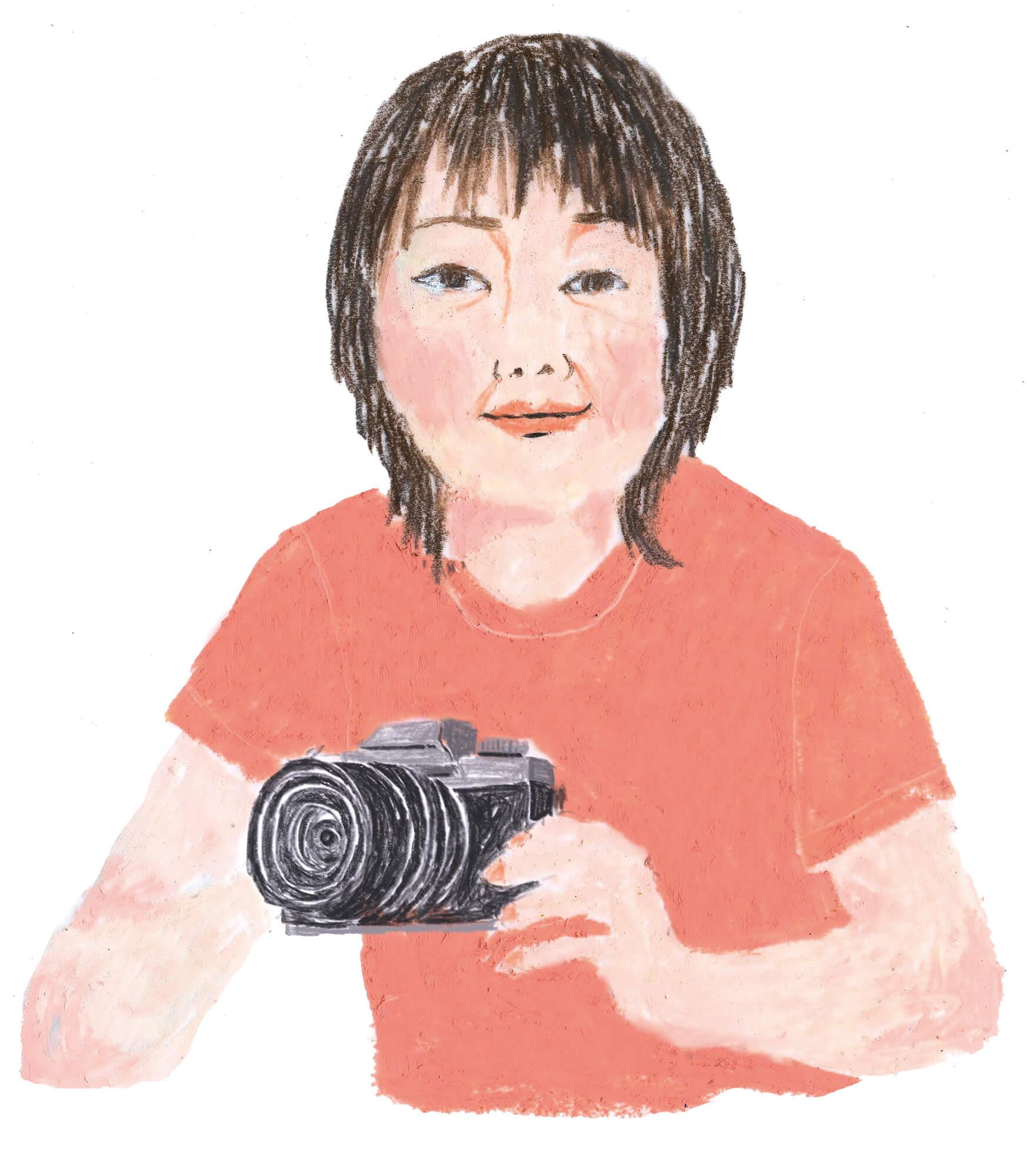「ねこのきもち」イラストカット ベネッセ2018年「カメラを持つ女性」
