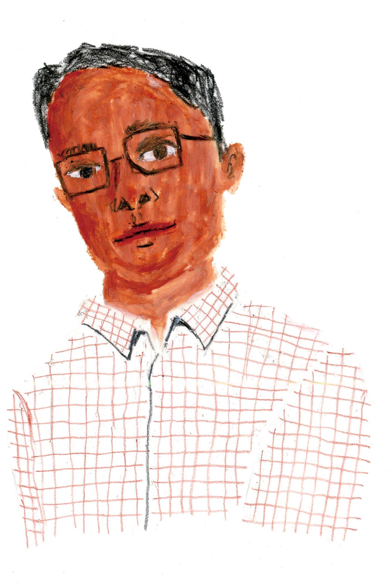 「ねこのきもち」イラストカット ベネッセ2018年「メガネをかけた男性」