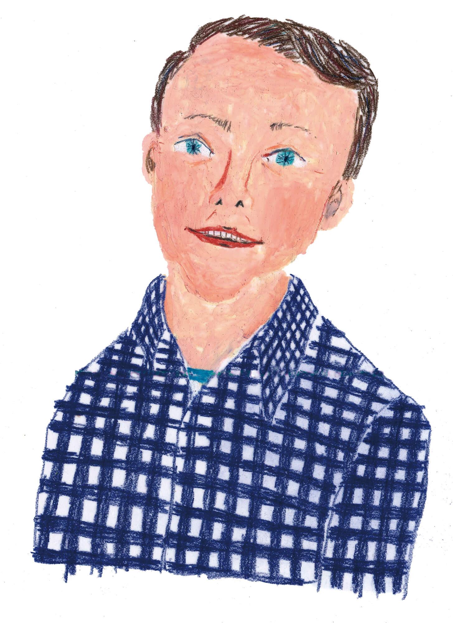 「ねこのきもち」イラストカット ベネッセ2018年「ネルシャツを着た男性」