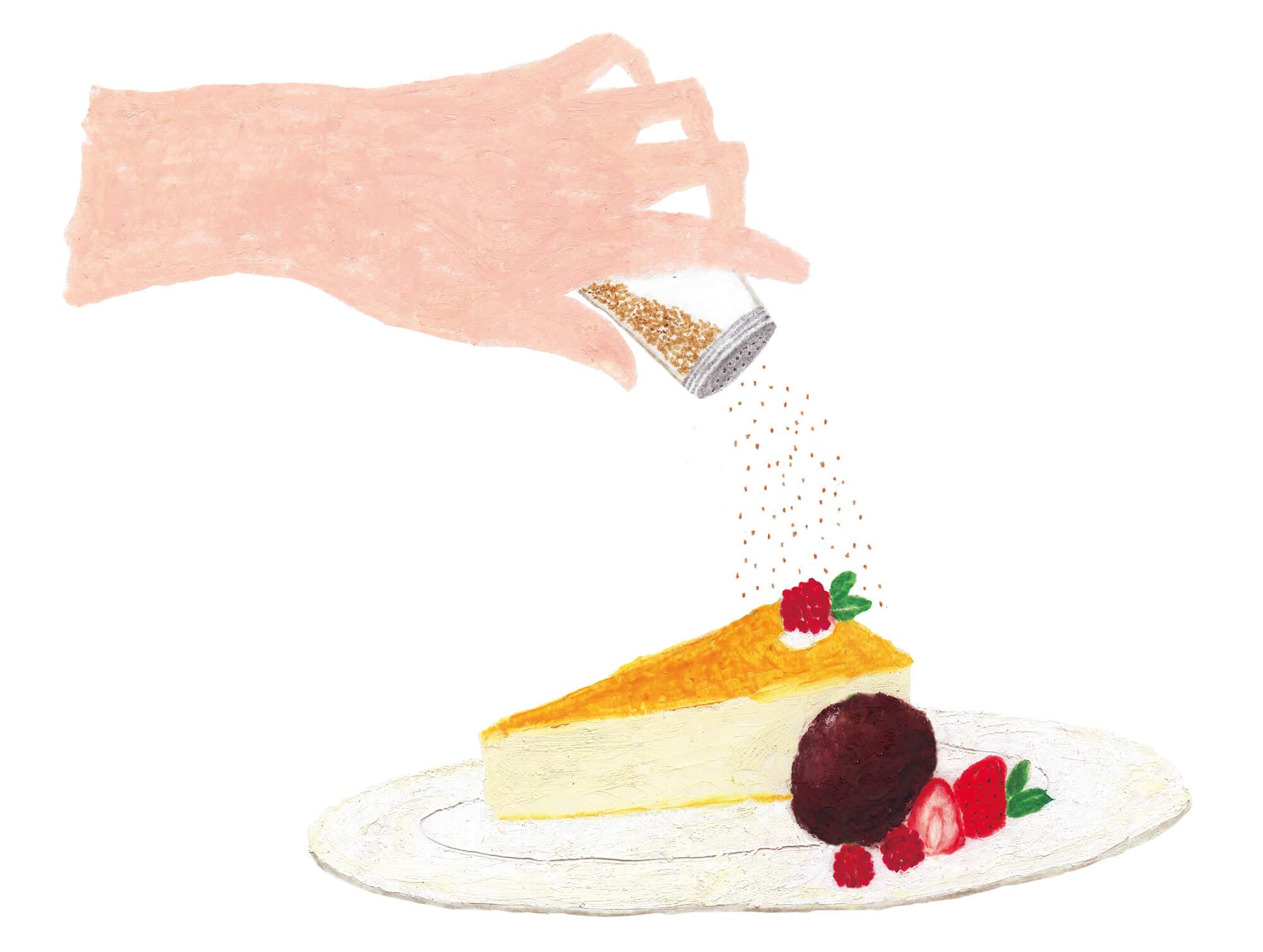 雑誌「VISA」イラストカット 2020年「チーズケーキ&ナツメグ、チョコアイス&ナツメグ」