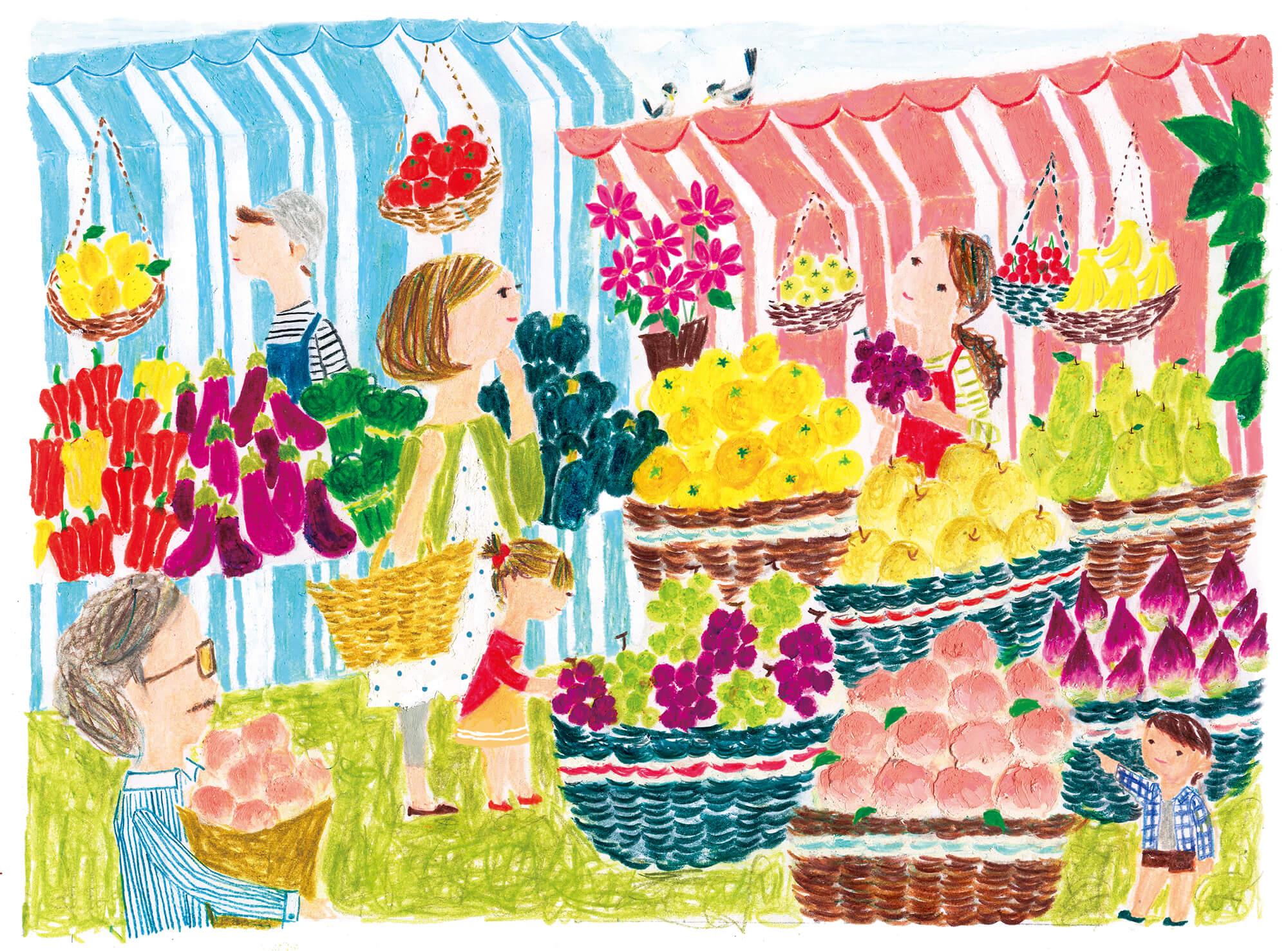 「すこやか健保」表紙絵 健保連「旬の秋の果物が並ぶお店」