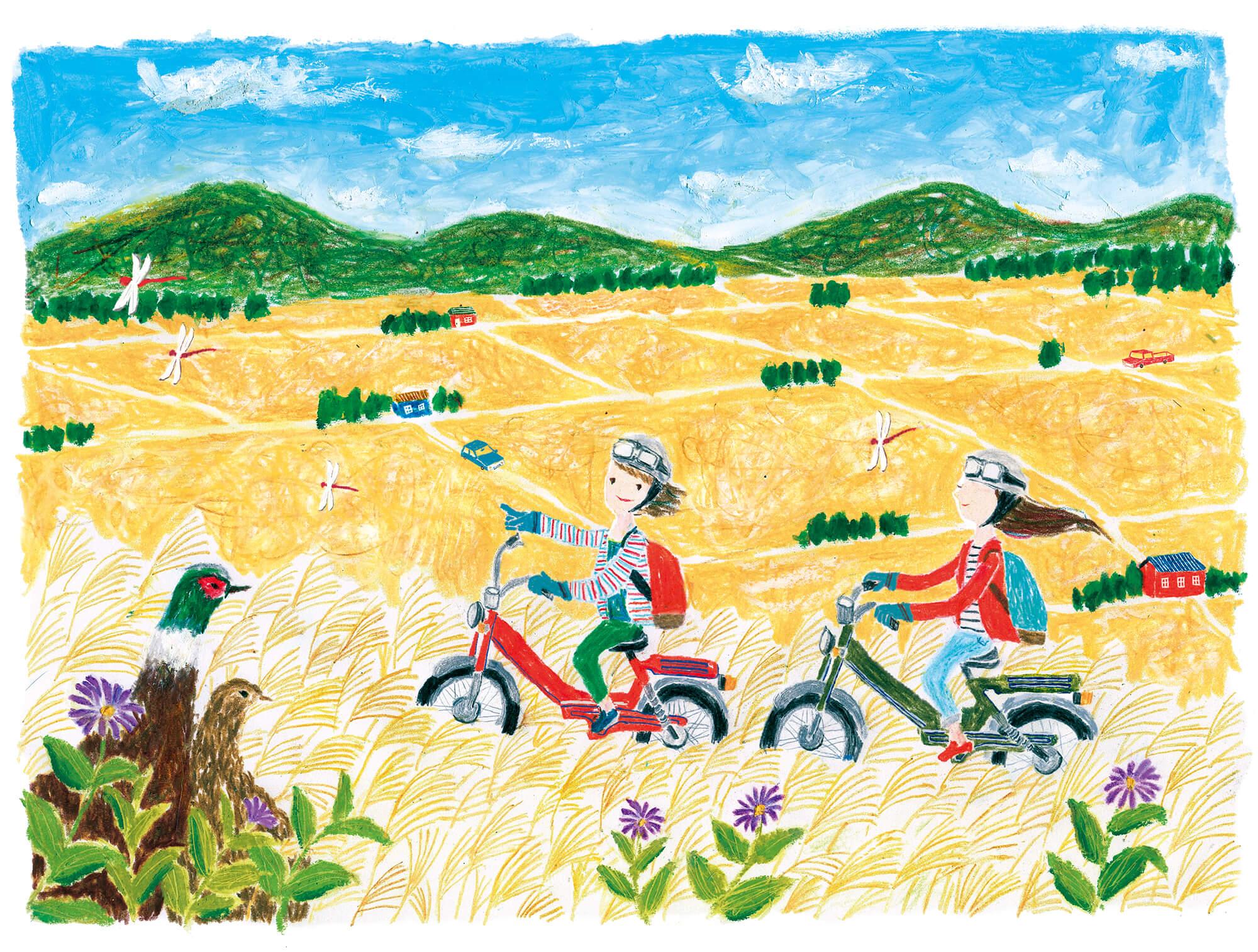 「すこやか健保」表紙絵 健保連「実りの秋のサイクリング」