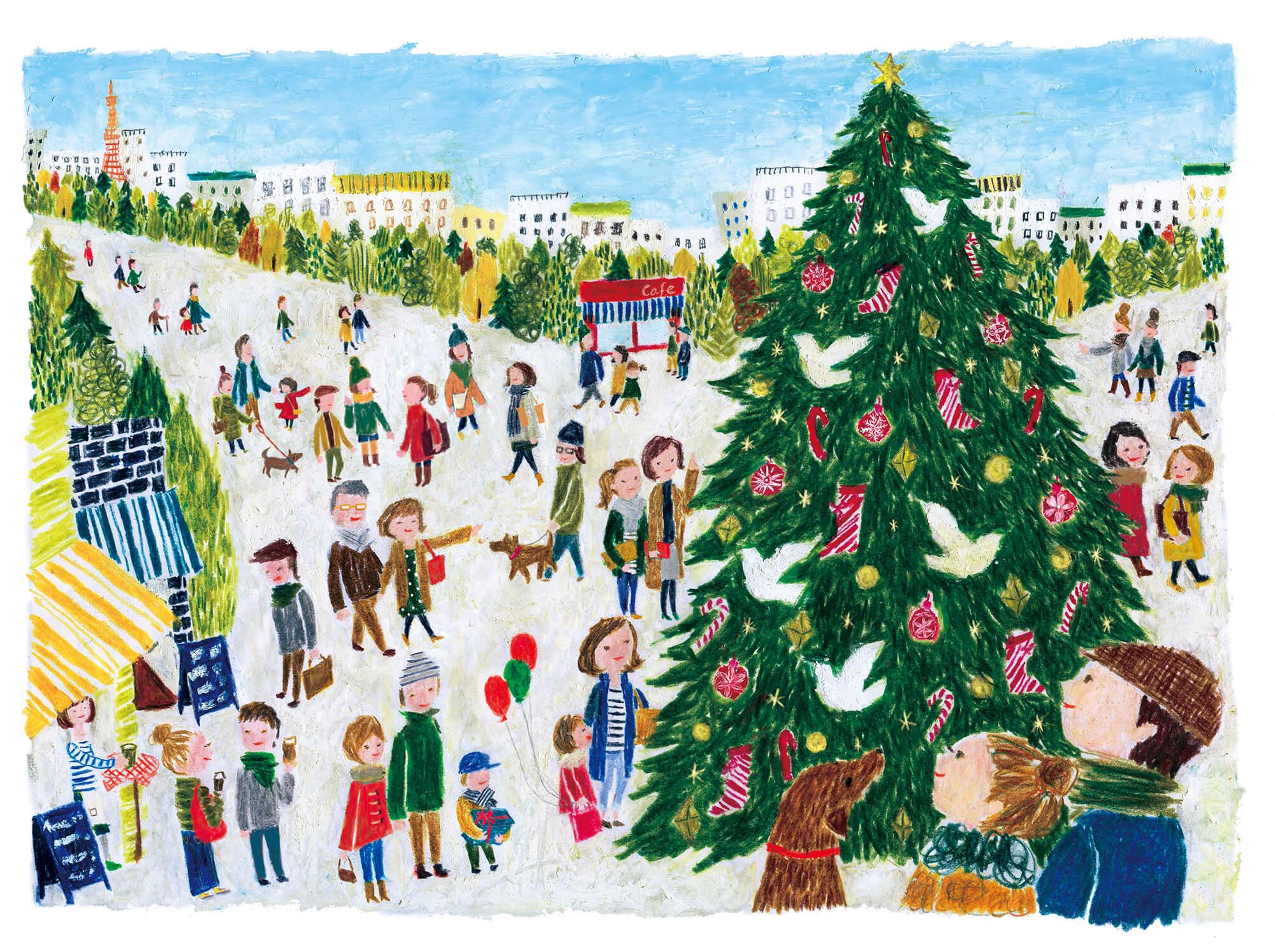 「すこやか健保」表紙絵 健保連「クリスマスツリー」