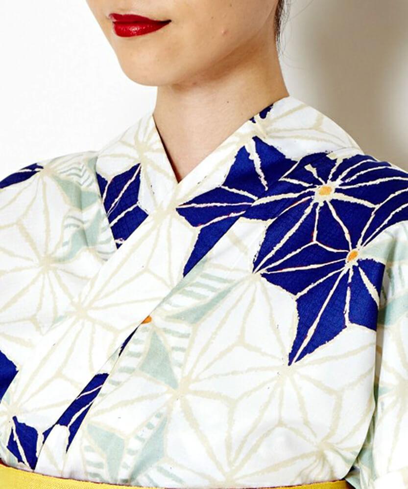 浴衣デザイン ふりふ「白地 紺 麻の葉」襟元