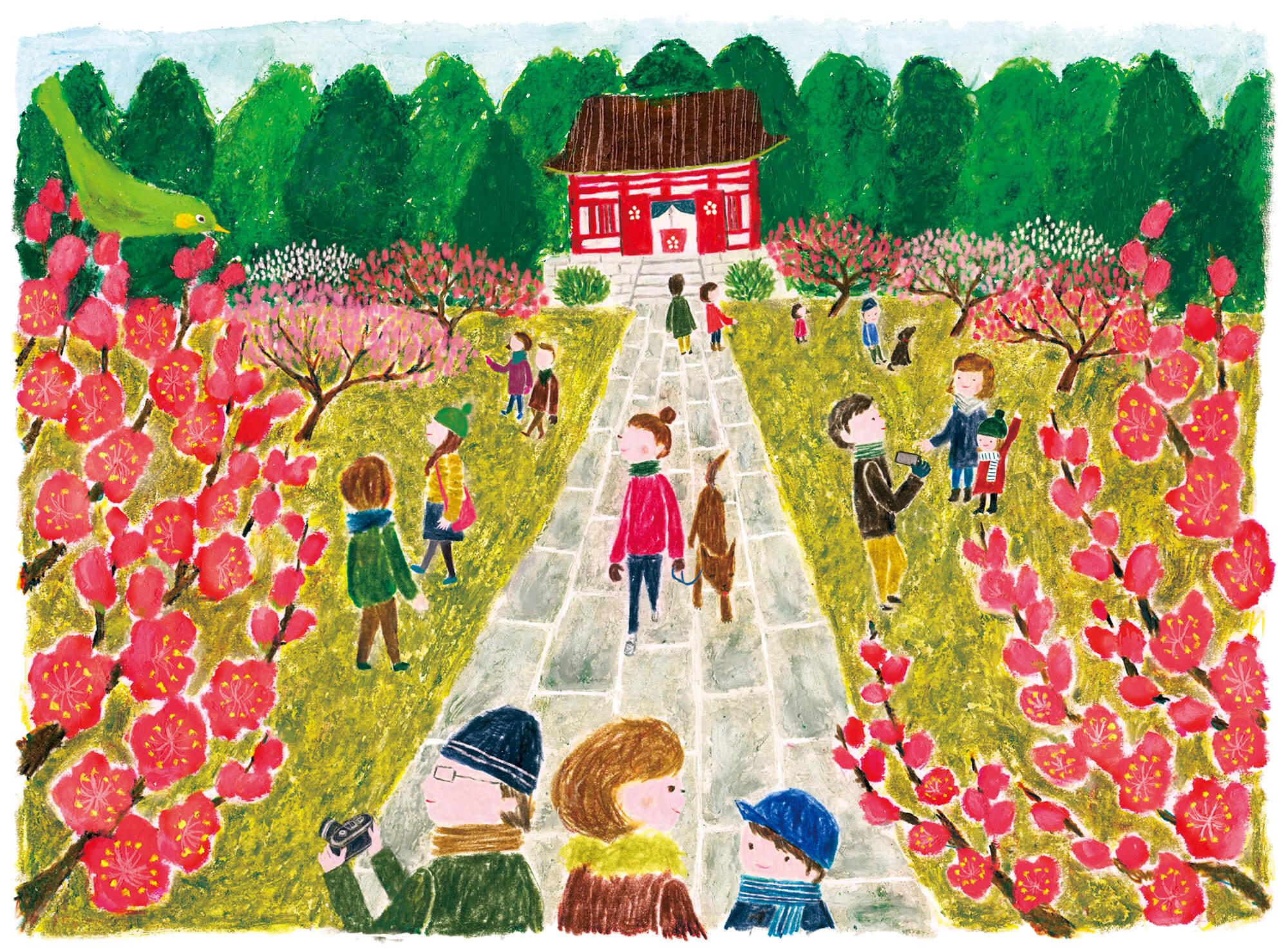 「すこやか健保」表紙絵 健保連「春の訪れ梅」
