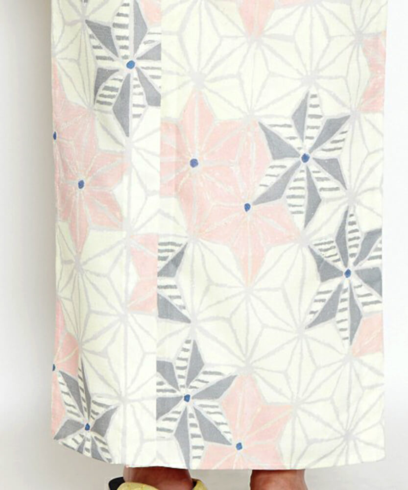浴衣デザイン ふりふ「白地麻の葉」褄下