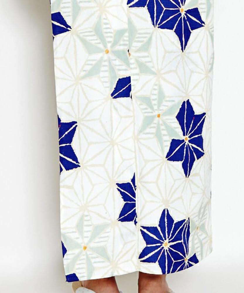 浴衣デザイン ふりふ「白地 紺 麻の葉」褄下