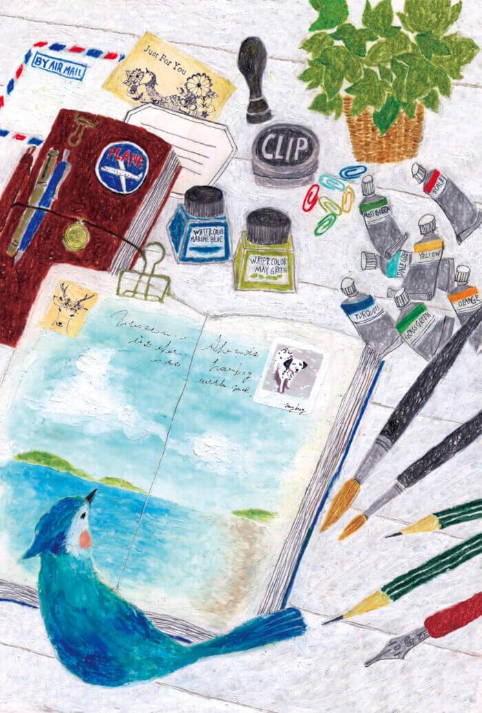 文具女子博出展ポストカード「旅するノート」