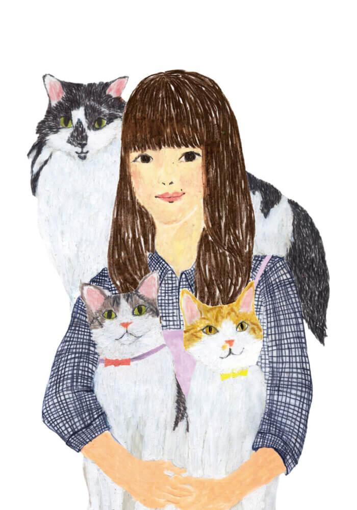 「ねこのきもち」イラストカット ベネッセ 2020年1月号「女性と3匹の猫」