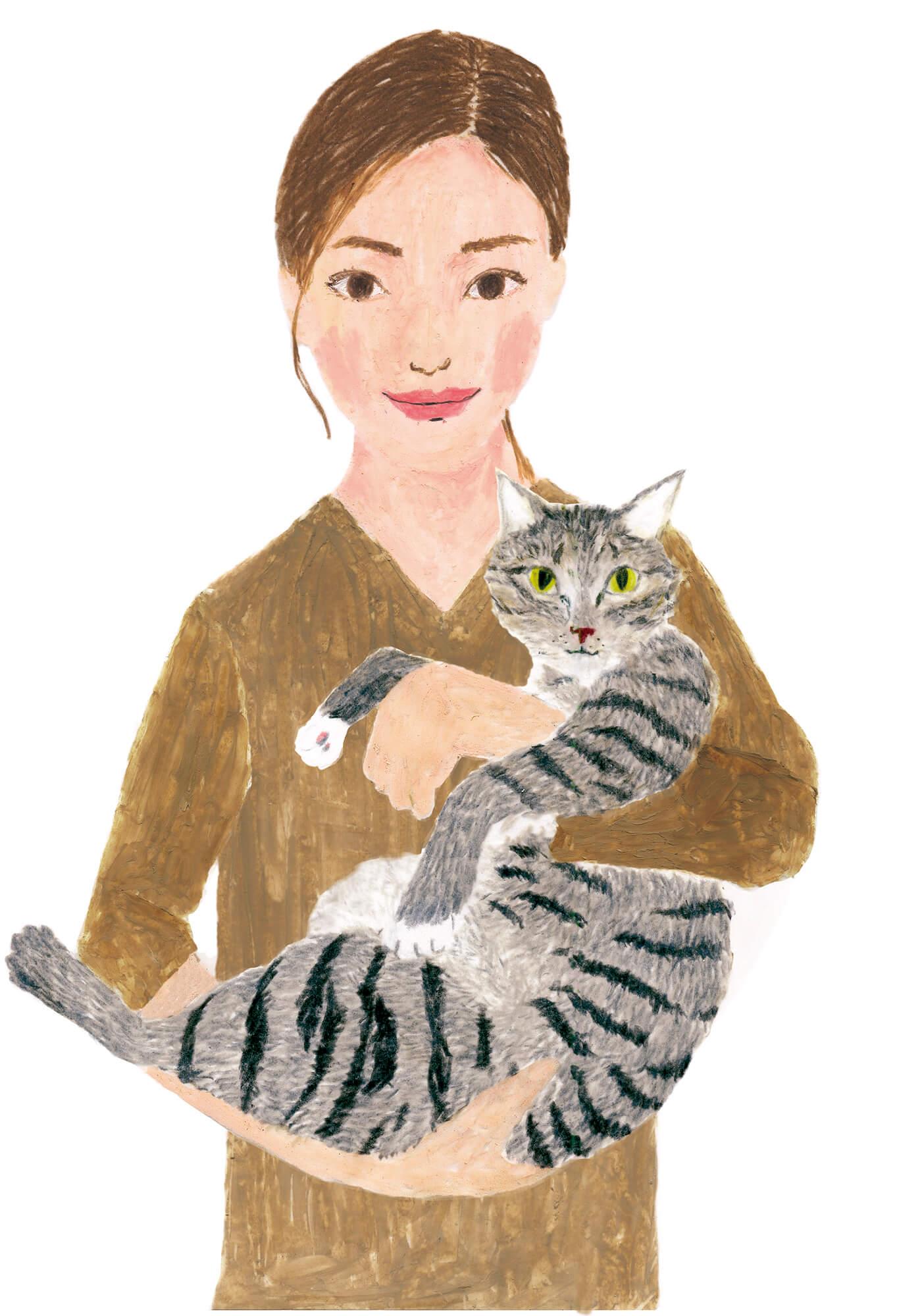 「ねこのきもち」イラストカット ベネッセ 2020年1月号「女性とサバトラ猫」