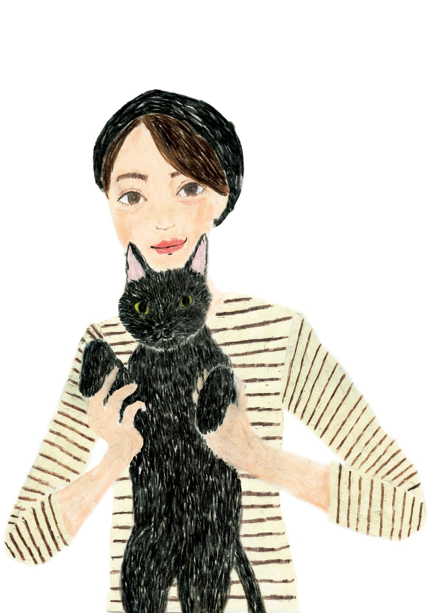 「ねこのきもち」イラストカット ベネッセ 2020年1月号「女性と黒猫」